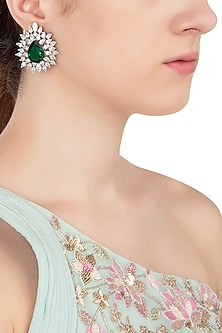 Silver Swarovski Crystal and Green Zircon Stud Earrings