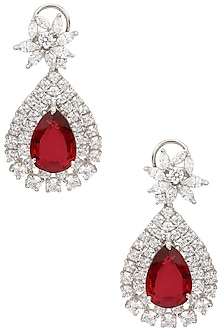 Silver Swarovski and Red Zircon Stone Earrings by Essense