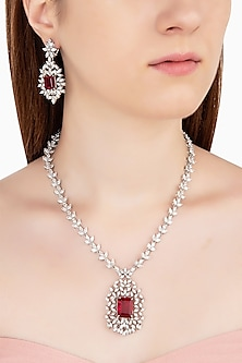 Silver Swarovski and Red Zircon Necklace Set