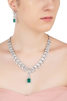 Silver Swarovski and Green Zircon Necklace Set