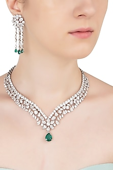 Silver Swarovski and Green Zircon Stone Necklace Set