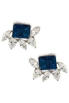 Silver Swarovski and Blue Zircon Stud Earrings by Essense