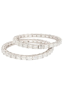 SET OF 2 SILVER SWAROVSKI BANGLES by ESSENSE