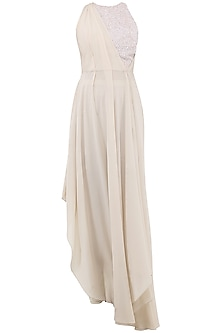 Beige and White Embroidered Gown