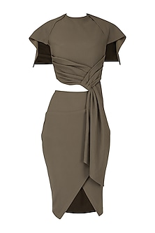Grey Brown Draped Top with Skirt