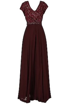 Deep Maroon Embroidered Anarkali Gown
