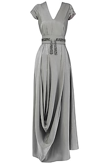 Silver Grey Draped Gown