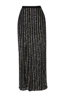 Black Embroidered Maxi Skirt