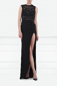 Black Embroidered Slit Gown by Esse