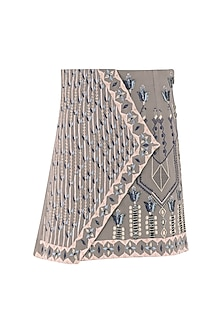 Grey Embroidered Overlap Skirt