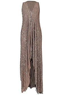 Dusty Pink Embroidered Asymmetrical Dress