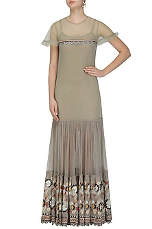Grey Floral Embroidered Boho Maxi Dress by Esha Sethi Thirani