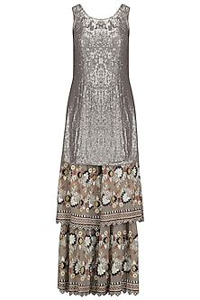 Grey Sequins Embroidered Kurta and Sharara Pants Set