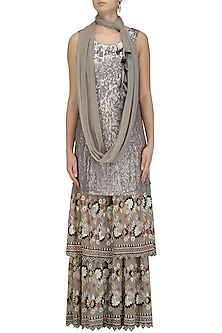 Grey Sequins Embroidered Kurta and Sharara Pants Set by Esha Sethi Thirani