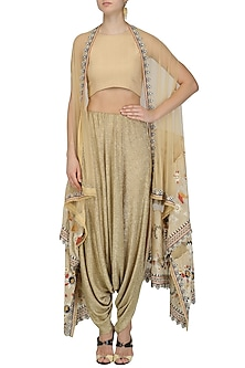 Gold Dhoti Pants and Floral Embroidered Jacket Set by Esha Sethi Thirani