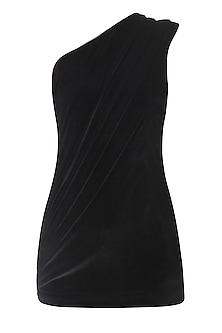 Black One Shoulder Drape Top by Esse Vie