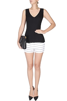 Black V Neck Cutout Sleeveless Top by Esse Vie