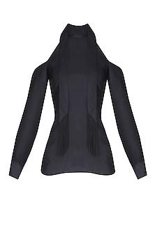 Black Cold Shoulder Tie Up Top With Silk Tassels by Esse Vie