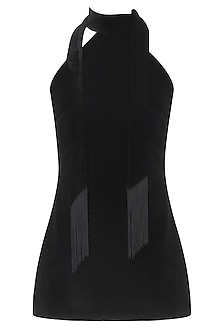 Black High Neck Tie Up Top With Silk Tassels by Esse Vie
