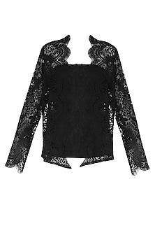 Black Lace Front Open Kimono Cardigan