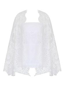 White Lace Front Open Kimono Cardigan