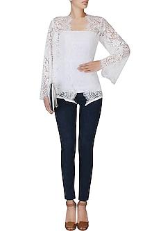 White Lace Front Open Kimono Cardigan by Esse Vie