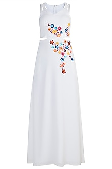 White Hand Embroidered Maxi Dress by Etre
