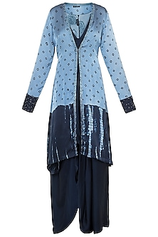 Navy Blue Embroidered Dress with Jacket by Etika