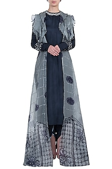 Navy Blue Embroidered Jacket with Kurta and Pants by Etika