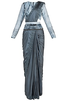 Grey Pre-Stitched Embroidered Saree Set by Etika
