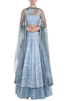 LIGHT GREY EMBROIDERED LEHENGA SET by ETIKA