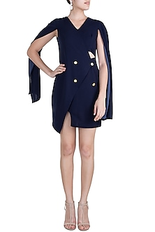 Navy Blue Asymmetric Trench Dress by Etre