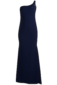 Navy Blue Embellished Fish Cut Maxi Dress by Etre