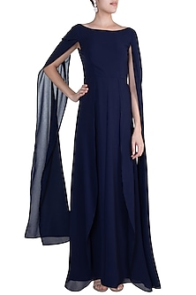 Navy Blue Cape Trail Maxi Dress by Etre