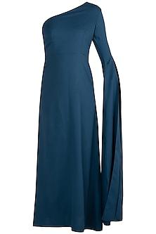 Teal Blue One Shoulder Maxi Dress by Etre