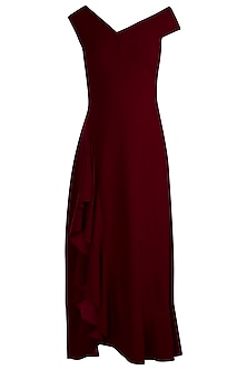 Deep Maroon Bardot Ruffle Maxi Dress by Etre