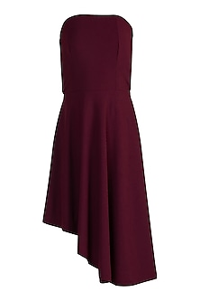 Burgundy Embellished Tube Mini Dress by Etre
