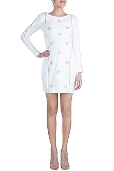 White Embellished Bodycon Mini Dress by Etre