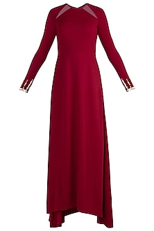 Deep Maroon Embellished Maxi Dress by Etre