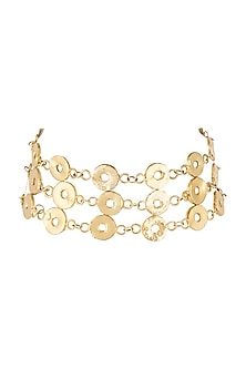 Gold Finish Three Lined Choker Necklace by Eurumme Jewellery