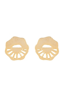 Gold Finish Round Recycled Cardboard Stud Earrings by Eurumme Jewellery