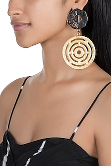 Gold & Black Finish Recycled Cardboard Earrings by Eurumme Jewellery