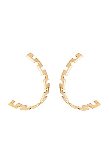 Gold Finish Recycled Cardboard Half Hoop Earrings by Eurumme Jewellery