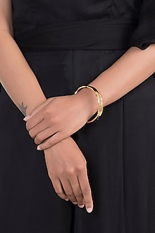 Gold Finish Narrow Stackable Bangle by Eurumme Jewellery