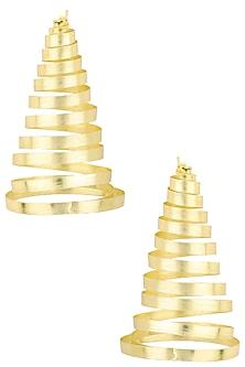 Gold Plated Swirl Pattern Earrings by Eurumme Jewellery