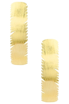 Gold Plated Curve Detailed Earrings by Eurumme Jewellery