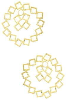 Gold Plated Circular and Square Detailed Earrings by Eurumme Jewellery