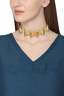 Gold Plated Swirl Pattern Choker Necklace