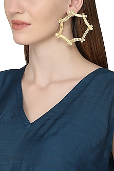 Gold Plated Crinkle Curvature Earrings