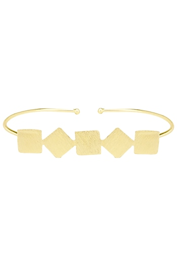 Gold Plated Linear Detailed Palm Cuff by Eurumme Jewellery